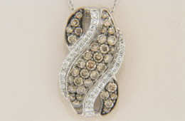 LeVian 1.11ctw Round Chocolate & White Diamond Wave Pendant Necklace in 14k White Gold