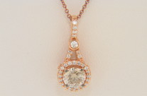 LeVian 0.92ctw Round Chocolate & White Diamond Necklace in 14k Rose Gold