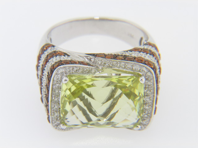 Contemporary Lemon Quartz, Diamond & Citrine Ring in 18k White Gold Size 6.75