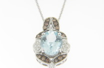LeVian 2.35ctw Aquamarine and Chocolate & White Diamond Necklace in 14k White Gold