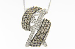 "LeVian 1.11ctw Chocolate & White ""X"" Wave Design Necklace in 14k White Gold"