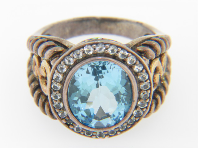 Contemporary Two Tone Blue & White Topaz Ring in .925 Sterling Silver & 14k Yellow Gold Size 7