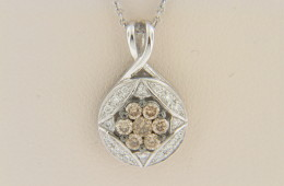LeVian 0.35ctw Chocolate & White Flower Design Necklace in 14k White Gold