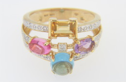 Contemporary Multi Gemstone & Diamond Split Band Ring in 14k Yellow Gold Size 6.5