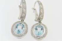 LeVian 3.10ctw Oval Blue Topaz & Diamond Dangle Lever Back Earrings in 14k White Gold