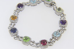 Color Story Multi Gemstone Bracelet with Diamond Halos in 14k White Gold 7.0""