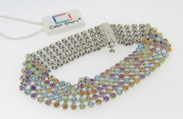 Color Story 8.9ctw Multi Gemstone Mesh Style Bracelet in 14k White Gold 7.0""
