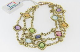 Color Story 10.6ctw Multi Gemstone 3 Row Design Bracelet in 14k Yellow Gold 7.0""