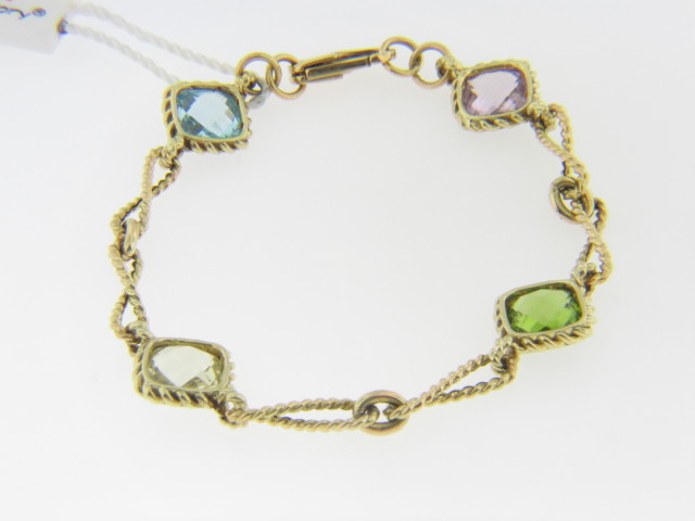 Color Story 10.25ctw Multi Gemstone Bracelet in 14k Yellow Gold 7.0""