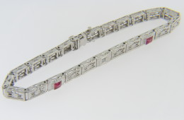 Vintage Very Fine Diamond and Ruby Filigree Bracelet in 14k White Gold