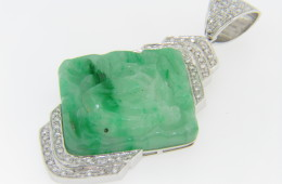 Vintage Hand Carved Bird & Floral Design Jadeite & 1ct Diamond Pendant In 18k White Gold