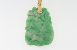 Vintage Hand Carved Jade Koi Fish and Lotus Flower Pendant With 14k Yellow Gold Bail