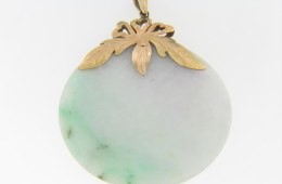 Vintage Round Jade Pendant with Fine Leaf & Heart Design 14k Yellow Gold Bail