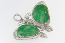 Vintage Butterfly Pendant With Hand Carved Jade Poker Chip Wings & Round Diamonds in 14k White Gold