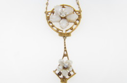 Vintage Two Tier Natural Pearl & Diamond Flower Necklace in 14k Yellow Gold
