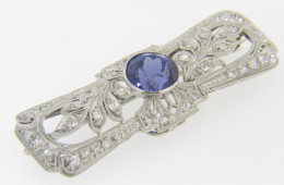 Vintage Art Deco 5.30ctw Round Tanzanite & Diamond Floral Design Pin in Platinum