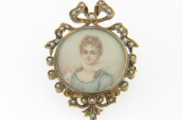 Vintage Victorian Natural Pearl Handpainted Miniature Portrait Pin/Pendant in14k Yellow Gold