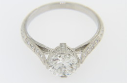Vintage 1.39ctw Fine Round Diamond Engagement Ring in Platinum Size 6.5