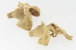 Vintage Very Fine Horse Equestrian Design Men's Cufflinks in 14k Yellow Gold