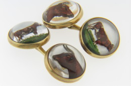 Vintage Fine Reverse Painted Quartz Cow Bull Men's Cufflinks in 14k Yellow Gold