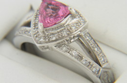 Contemporary Trillion Pink Sapphire & Diamond Ring in 14k White Gold Size 6.75