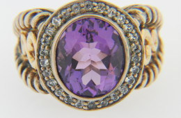 Contemporary Two Tone Oval Amethyst & White Sapphire Ring in .925 Sterling Silver & 14k Yellow Gold Size 7