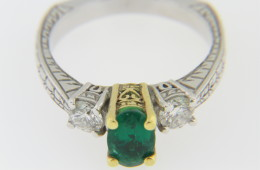 Contemporary Two Tone Emerald & Diamond Ring in 14k White Gold Size 6.5