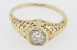 Vintage 0.20ct Solitaire Round Diamond Open Design Ring in 14k Yellow Gold Size 4.25