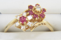 Vintage Ruby & Diamond Flower Bypass Design Ring 14k Yellow Gold Size 7.5
