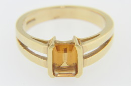Vintage Emerald Cut Citrine Split Band Ring in 14k Yellow Gold Size 4.75