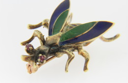 Vintage Flying Insect Bee Pin with Ruby Eyes & Fine Enamel Wings & Body in 14k Yellow Gold
