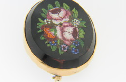Vintage Fine Oval Floral Design Micro Mosaic Pin In 14k Yellow Gold