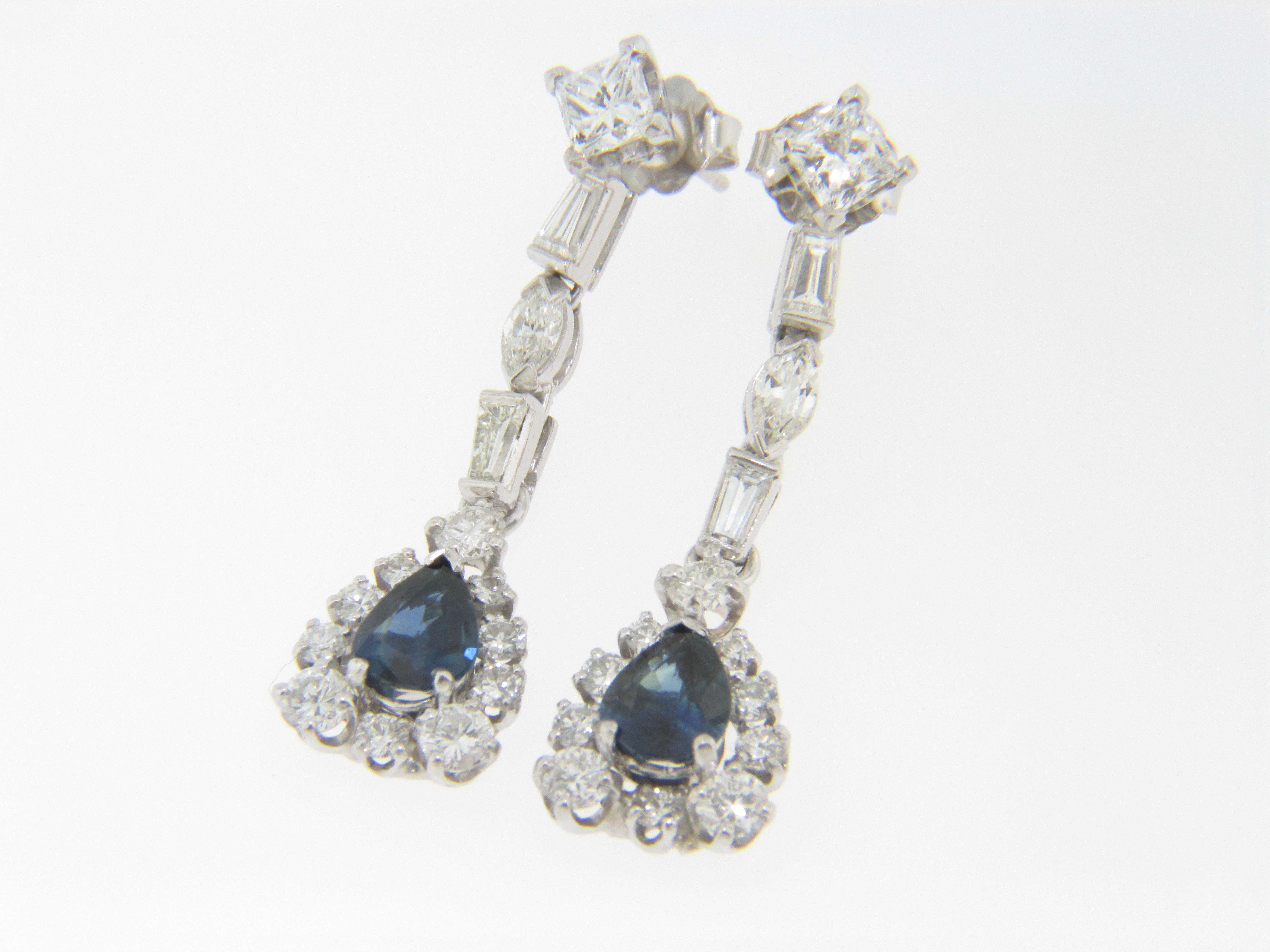 This Is A Pair Of Stunning Vintage 2 0ctw Pear Cut Shire And Diamond Dangle Drop Very Fine Earrings In 14k White Gold The Weighs 5 0 Grams Each