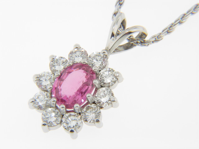 Vintage Oval Pink Sapphire & Round Diamond Necklace in 14k White Gold