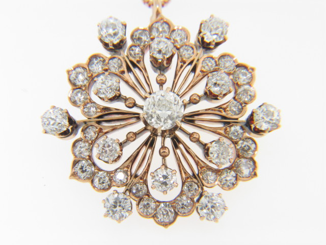 Vintage 3.0ctw Old Cut Diamond Snowflake Pendant with Chain in 14k Rose Gold