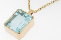 Vintage 51.0ct Emerald Cut Aquamarine Pendant with Fine Chain in 14k Yellow Gold