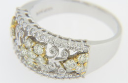Vintage White & Yellow Diamond Whimsical Star Band Ring in 14k White Gold Size 7
