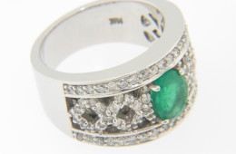 Vintage 1.25ctw Oval Emerald & Diamond Wide Band Ring in 14k White Gold Size 6.75