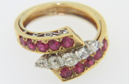 Vintage Very Fine Ruby & Diamond Designer Ring in 18k Yellow Gold & Platinum Size 4.75