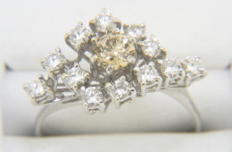 Vintage 1950's 0.74ctw Champagne & White Whimsical Diamond Ring in 18k White Gold Size 6.25