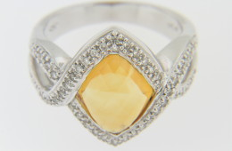 Vintage Marquise Citrine & Diamond Split Band Ring in 18k White Gold Size 7