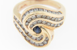 Vintage 1.80ctw Sapphire & Diamond Spiral Design Ring in 14k Yellow Gold Size 6.75