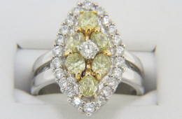 Vintage 2.15ctw Fine Yellow & White Diamond Ring in 14k White Gold Size 6.75