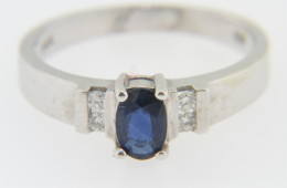 Vintage Oval Sapphire & Diamond Band Ring in 14k White Gold Size 6.75