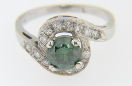 Vintage Green Irradiated & White Diamond Fine Ring in 14k White Gold Size 6