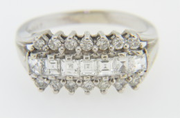 Vintage 1.10ctw Round & Asscher Cut Diamond Band Ring in 14k White Gold Size 7.25