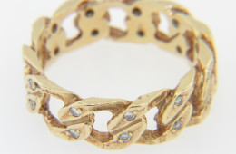 Vintage 0.50ctw Diamond Link Design Band Ring in 14k Yellow Gold Size 9