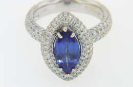 Vintage 4.2ctw Marquise Tanzanite & Diamond Ring in 14k White Gold Size 7.75