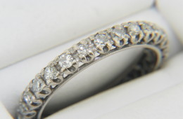 Vintage 0.55ctw Round Diamond Fine Open Design Band Ring in 14k White Gold Size 6
