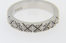 Vintage 0.25tcw Round Diamond Woven Design Band Ring in 14k White Gold Size 6.75